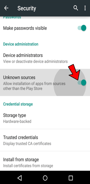 Unknown Sources in Android 1