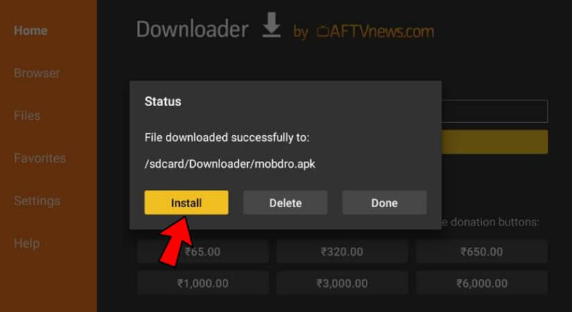 install button for mobdro on downloader 1